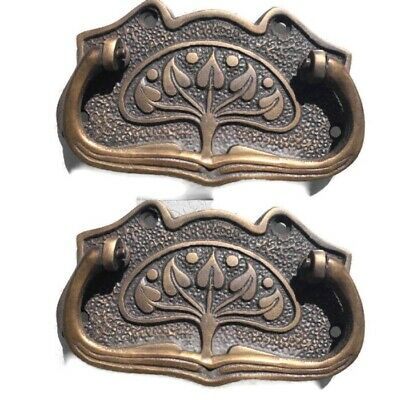 6 large DECO cabinet handles solid brass furniture antiques age old style 11cmB 2