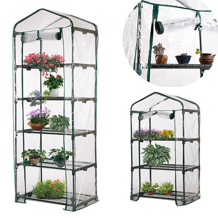 3-5 Tier Portable Walk In Greenhouse 6 Shelves PE Cover Plant Garden Green-House