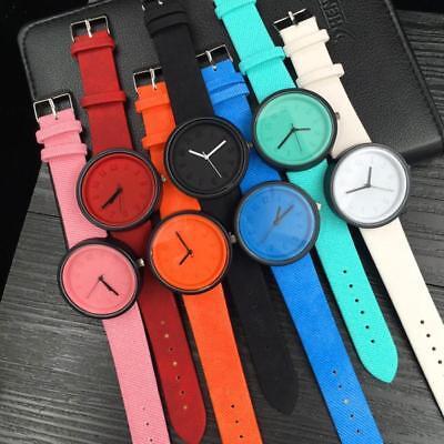 Simple Unisex Men Womens Canvas Strap Roman Number Quartz Analog Wrist Watch 3