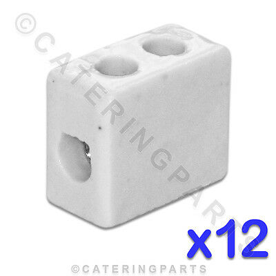 12x CERAMIC HIGH TEMPERATURE ELECTRICAL CONNECTOR BLOCKS 1 POLE 6mm 41A 2