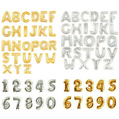 "16"" 40"" Letter & Number Foil Balloons Birthday Wedding Party Decor Gold Silver 2"