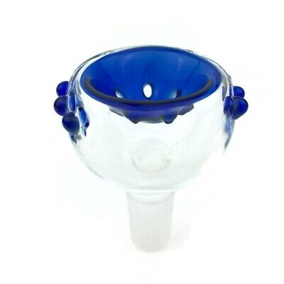 14mm / 18mm Male Blue Glass Slide Bowl With Built In Screen 2