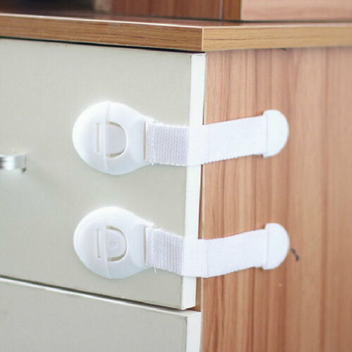 10X Baby Drawer Cupboard Cabinet Wardrobe Door Safety Lock with Adhesive Tape 2
