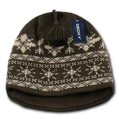 eac73e107b3837 ... Decky Nordic Style Beanies Snowflake Pom Knit Snowboard Hats Caps Warm  Winter 2