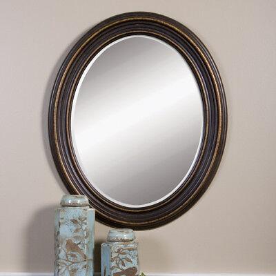 Dark Oil Rubbed Bronze Beveled Oval Wall Mirror 34 Bathroom Vanity Powder Room 165 00 Picclick