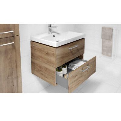 vbcbad® badmÖbel waschbecken mit unterschrank 2 schubladen nussbaum lara