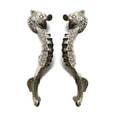 """2 small SEAHORSE solid brass door SILVER plated old style PULL handle 10"""" long B 2"""
