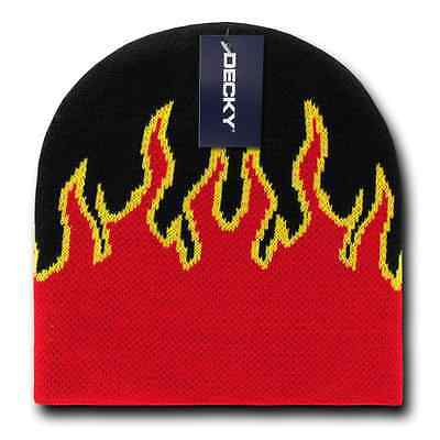 Decky Fire Flames Tribal Beanies Hats Caps Ski Skull Short Uncuffed Winter 5