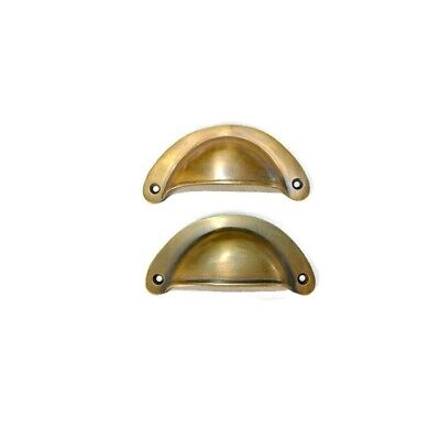 """4 heavy shell shape pulls handle antique solid brass vintage 4"""" vintage style B 4"""