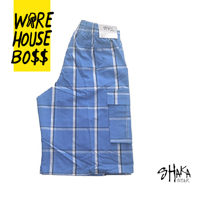 Shaka Mens Casual Cargo Shorts Plaid Shorts Loose Fit Checkered Hip Hop Shorts 9