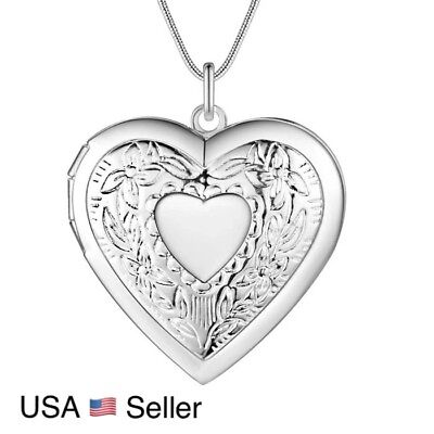 """925 Sterling Silver Heart Necklace, Locket Photo Picture Pendant 18""""  N1 6"""