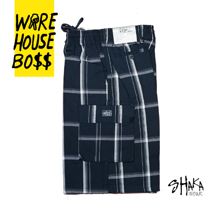 Shaka Mens Casual Cargo Shorts Plaid Shorts Loose Fit Checkered Hip Hop Shorts 2