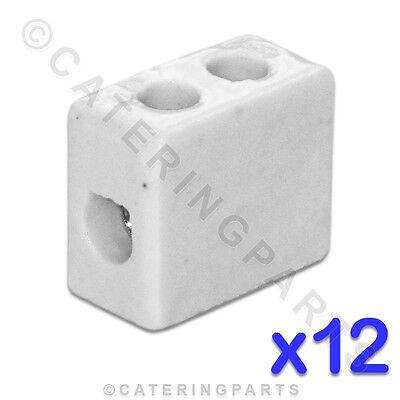12x CERAMIC HIGH TEMPERATURE ELECTRICAL CONNECTOR BLOCKS 1 POLE 6mm 41A 3