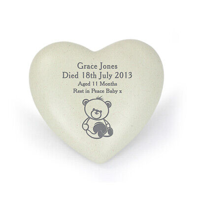 Personalised Infant Baby Memorial Teddy Bear Heart Grave Garden Marker Cemetery 6