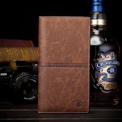 Men's Leather Bifold ID Card Holder Long Wallet Purse Checkbook Clutch Billfold 2