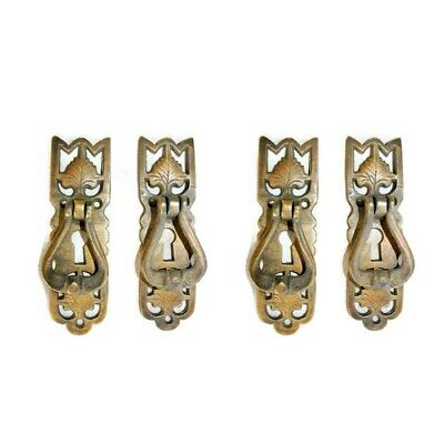 4 small old style pulls BRASS handles aged door old style drops knobs kitchen B 8