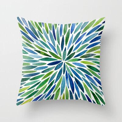 Polyester pillow case cover green leaves throw sofa car cushion cover Home Decor 4