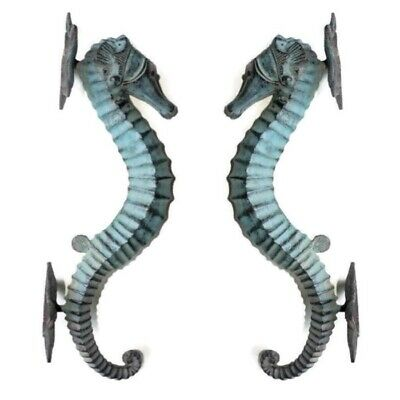 2 Large brass 35 cm SEAHORSE solid hollow heavy antique oxidised sea side B 6