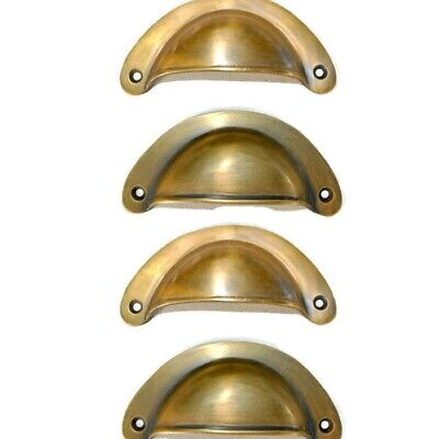 """4 heavy shell shape pulls handle antique solid brass vintage 4"""" vintage style B 3"""
