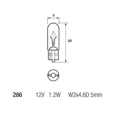 10 x Osram 286 Car Dashboard Instrument Panel Bulb T5 12v 1.2w W2x4.6Dd 2721