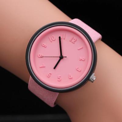Simple Unisex Men Womens Canvas Strap Roman Number Quartz Analog Wrist Watch 2
