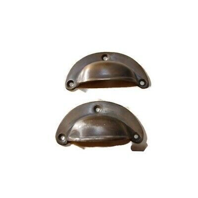 6 small shell shape pulls handles solid brass vintage aged drawer 6.6cm B 6