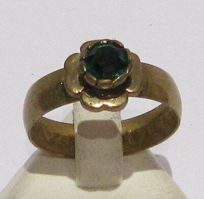 VINTAGE NICE BRONZE RING WITH GREEN STONE FROM THE EARLY 20th CENTURY # 1B 2