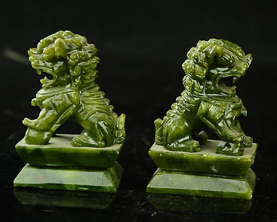 China  Rare A pair of 100%  natural green jade hand-carved statues fo dog lion 5