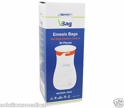 50 X Vomit Bags First Aid Emesis Red Ring Twist & Seal High Quality Best Price 5