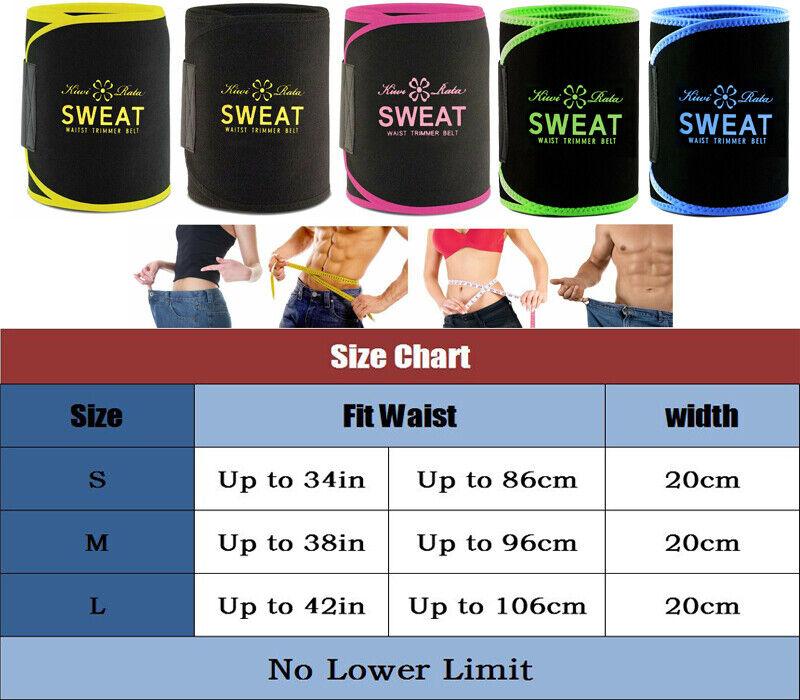 UK Men Women Waist Trimmer Belt Sweat Wrap Tummy Stomach Weight Loss Fat Burner 2