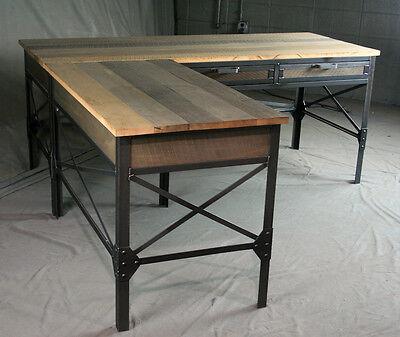 Vintage L Shaped Desk Wood With Return