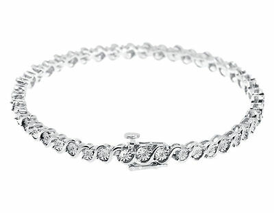 "0.25CT Round Natural Diamond 'S' Style Tennis 7"" Bracelet In 925 Sterling Silver 2"