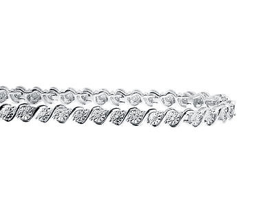 "0.25CT Round Natural Diamond 'S' Style Tennis 7"" Bracelet In 925 Sterling Silver 3"