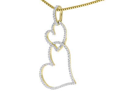 14K Or Jaune Bleu Coeur /& Rond créé diamant Collier Pendentif 4.5 ct