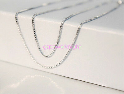 """Fashion Solid 925 Sterling Silver Trace Chain Necklace 16/""""18/""""20/""""22/""""24/"""" Inch Box"""