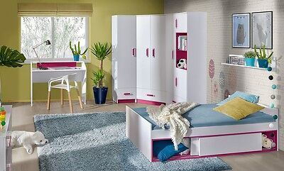 Jugendzimmer Kinderzimmer Komplett Thiago Set C 7 Tlg Eckschrank Regale Bett Neu