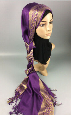 Muslim Women Hijab Tassel Long Scarf HeadWrap Islamic Big Shawls Hat Scarves Cap 8