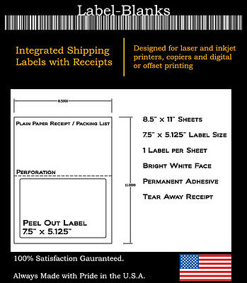 e49f927b4518a 1000 LASER /INK Jet Labels for use with FedEx, UPS, PayPal Tear Off Receipt  5127