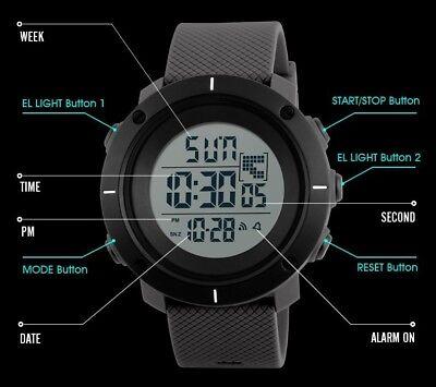 Fashion Men's LED Date Waterproof Digital Quartz Military Army Sport Wrist Watch 7
