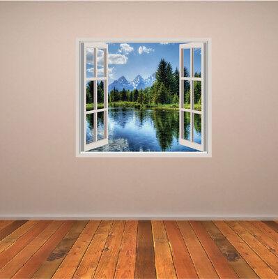 LAGO DI MONTAGNA 3D Finestra Adesivo Murale Paesaggio forestale Adesivo Da