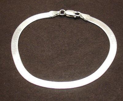 "7.5/"" Reversible Diamond Cut Shiny Herringbone Bracelet Solid 925 Silver ITALY"