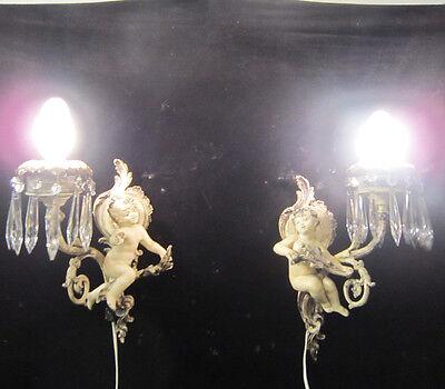 2 Antique French Cherub Spelter lamp Vintage Shabby sconce chic Paris Architectu 11