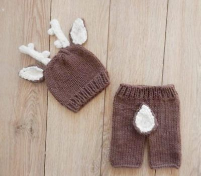 Newborn Infant Baby 'Deer Me' Knitted Deer Outfit Photo Props christmas gift