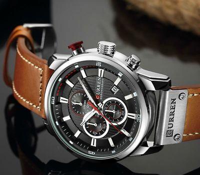Men Waterproof Leather Aviator Army Military Chronograph Date Quartz Wrist Watch 8