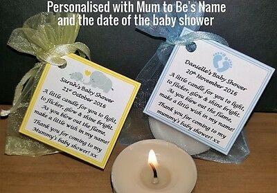 Baby Shower Candle Tealight Favour Labels Tags Can Be Personalised