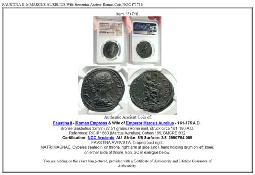FAUSTINA II Jr MARCUS AURELIUS Wife Sestertius Ancient Roman Coin  NGC i71716 5