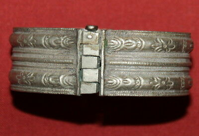 Antique Greek Handcrafted Engraved Silver Folk Hinged Cuff Bracelet 2