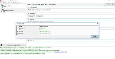 WIC WASTE INK Pad Error Message Service Reset Key for Epson Desktop Printers