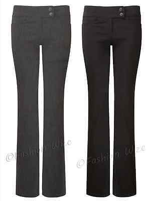 Girls Black Grey Navy School Trousers Sizes 4-16 Miss Sexies Miss Chief Bootcut 6