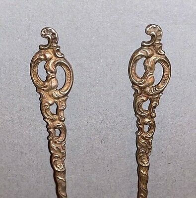 2 Vintage Ornate Sterling Silver Small Pickle Hors d'oeuvre Forks marked NORWAY 2